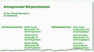 Antragsmuster des Hessischen Landeswahlleiters für Bürgerbegehren