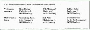 Auflistung auf den Homberger Unterschriftenlisten:  Spalten statt Zeilen